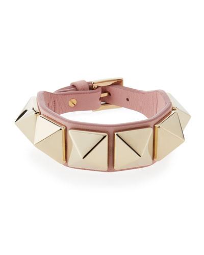 Valentino Leather Rockstud Buckle Bracelet