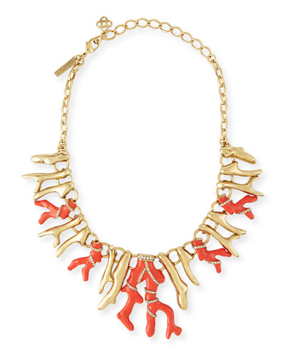 Coral Bib Necklace, Persimmon