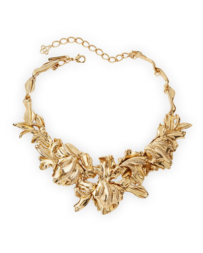 Golden Tulip Pave Statement Bib Necklace