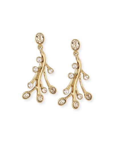 Crystal Seaweed Drop Earrings