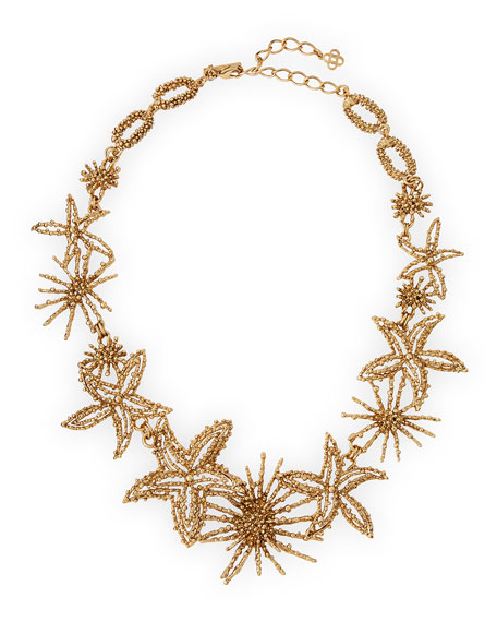 Golden Starfish Statement Bib Necklace