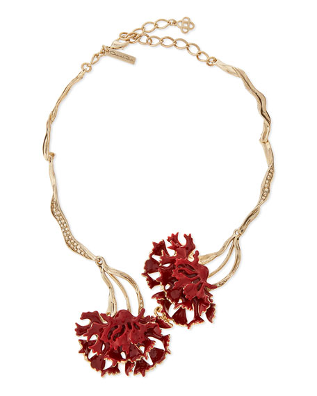 Swarovski® Enamel Floral Collar Necklace, Ruby