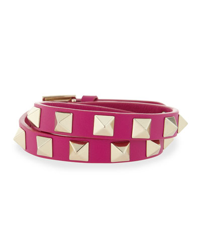Double-Wrap Leather Rockstud Bracelet, Fuchsia