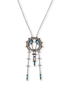 Antonella Long Crystal Necklace, Blue/Multi