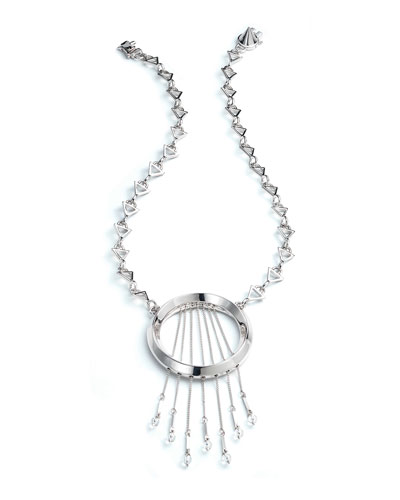 Oracle Statement Fringe Necklace, Silvertone
