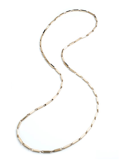 "Large 14K Gold Peaked Link Necklace, 40""L"