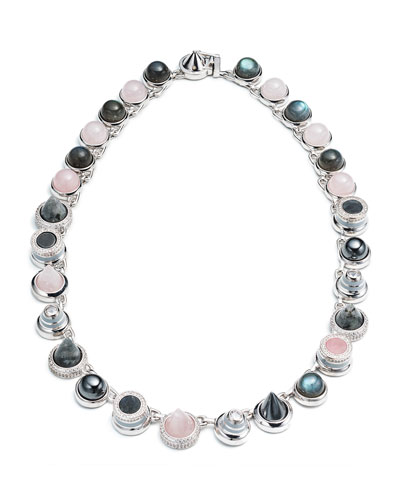 Collage Hematite & Rose Quartz Cabochon Necklace
