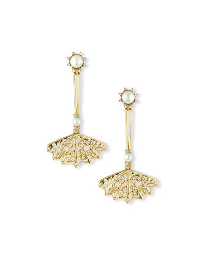 Pearly Filigree Fan Drop Earrings