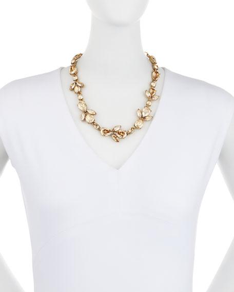 Bold Crystal Teardrop Necklace, Golden