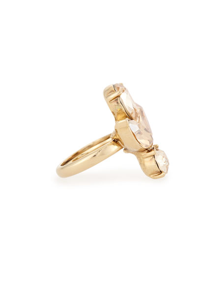 Bold Teardrop Crystal Ring, Golden