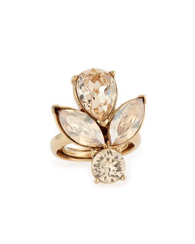 Bold Teardrop Crystal Ring, Golden