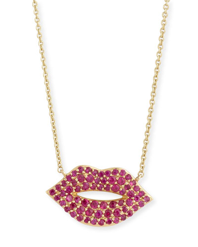14k Gold Ruby Lips Pendant Necklace, Medium