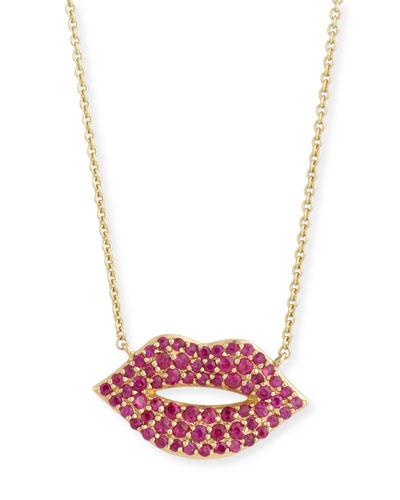 14k Gold Ruby Lips Pendant Necklace, Medium