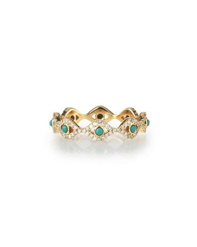 Turquoise Cabochon & Diamond Evil Eye Ring