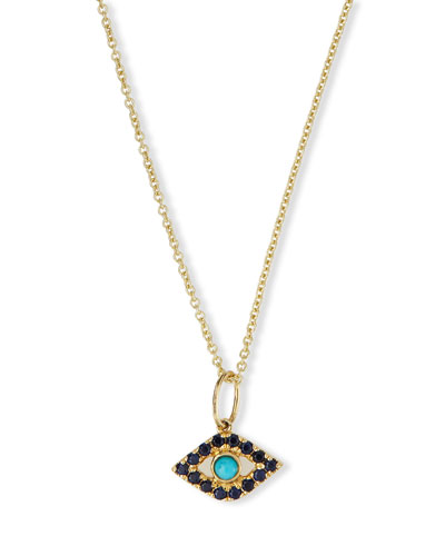 Small Turquoise Cabochon Evil Eye Pendant Necklace w/Sapphires