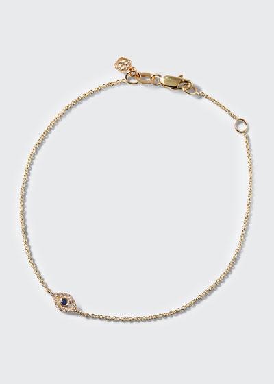 Small Sapphire & Diamond Evil Eye Bracelet