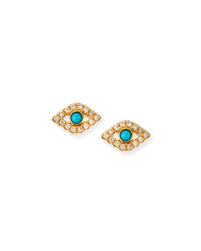 Small Turquoise Cabochon & Diamond Evil Eye Earrings