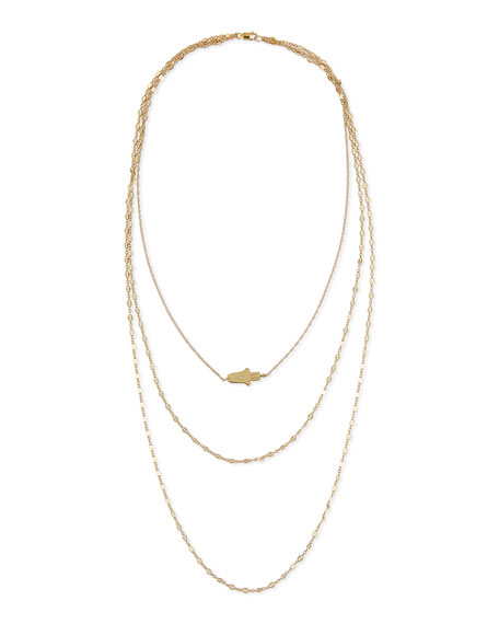 18K Annette Three-Strand Hamsa Necklace