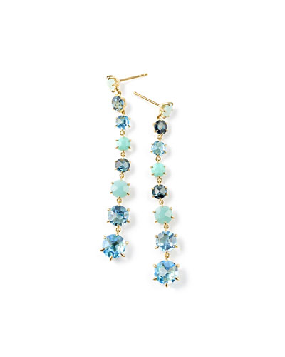 18K Rock Candy 8-Stone Dangle Earrings in Waterfall