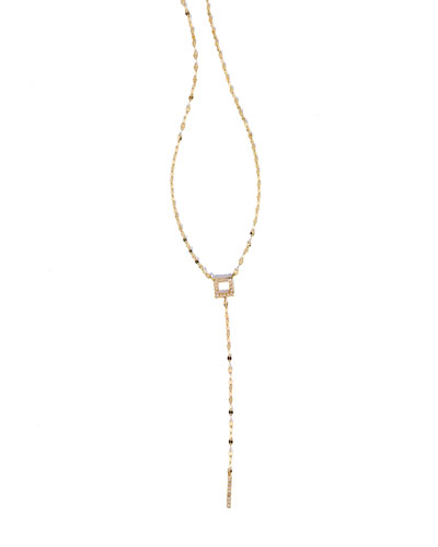 Pavé Diamond Square Bar Lariat Necklace