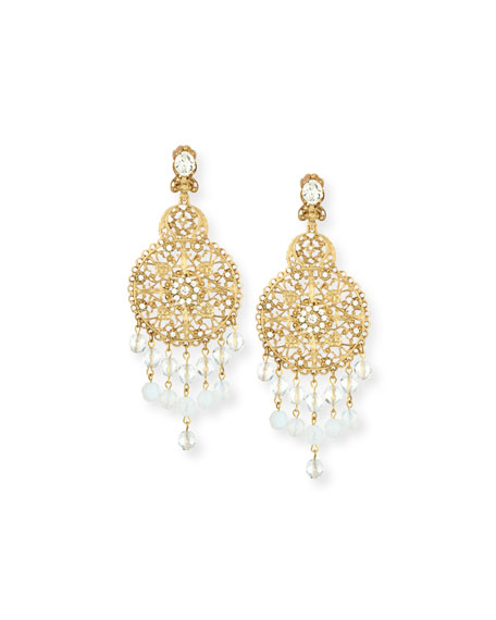 Filigree Disc Drop Chandelier Earrings