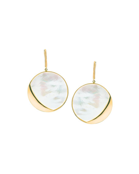 Large Satin Disc Drop Earrings