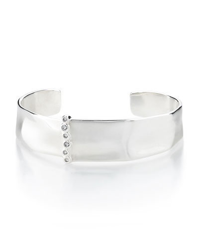 925 Glamazon Medium Cuff w/Diamond Bezels