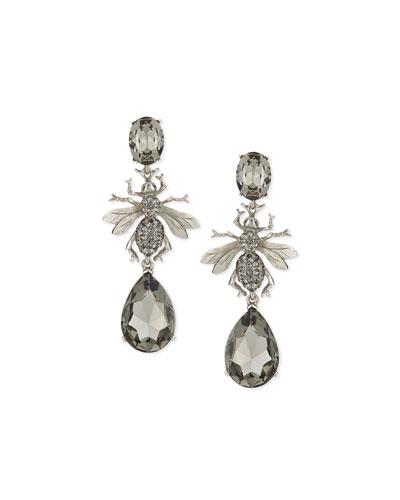 Long Crystal Bee Statement Earrings, Black