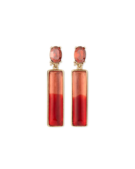 Two-Tone Resin Drop Earrings, Berry