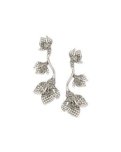 Gradient Crystal Flower Drop Earrings, Black