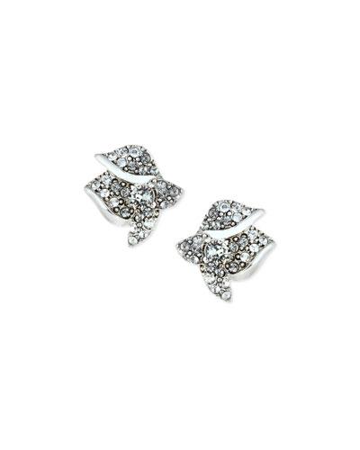 Gradient Crystal Flower Button Earrings, Black