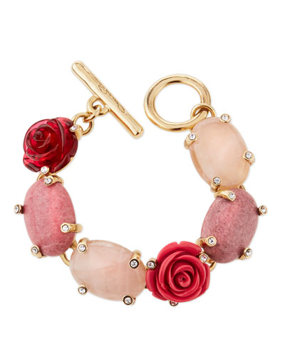 Floral Resin & Cabochon Bracelet, Pink/Multi