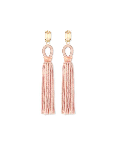 Long Woven Tassel Earrings, Soft Petal