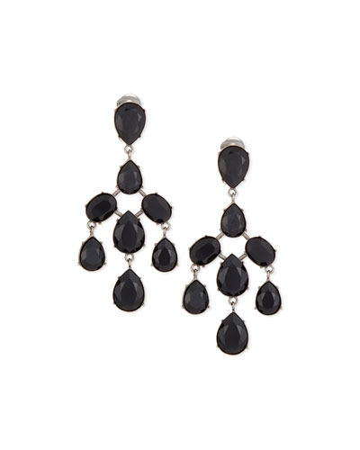 Floating Crystal Chandelier Earrings, Jet