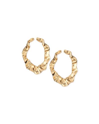 Flounced Golden Ribbon Earrings
