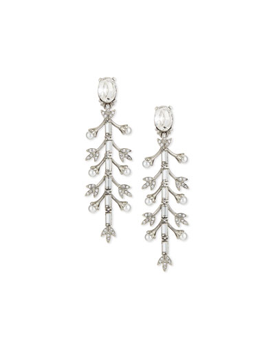 Pearly Crystal Baguette Leaf Drop Earrings