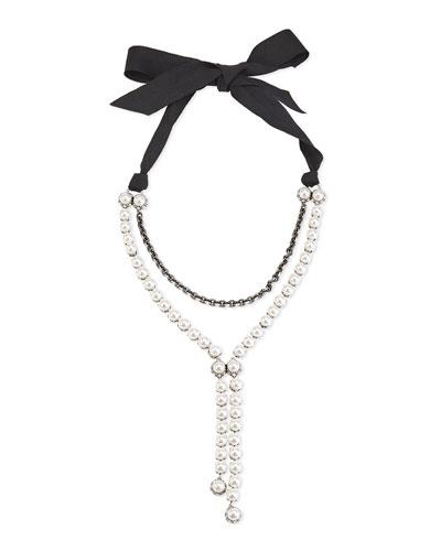 Pearly Bow-Tie Y-Drop Necklace