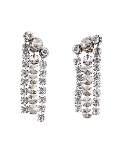 Three-Row Crystal Statement Earrings