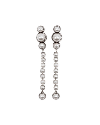 Pearly Linear Drop Earrings, White