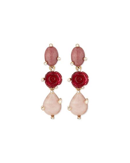 Resin Rose & Crystal Triple-Drop Earrings