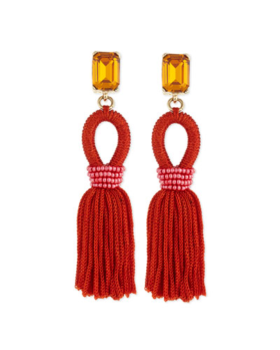 Short Woven Tassel Earrings, Poppy