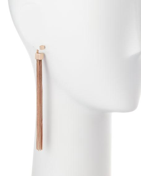Double Cubo Tassel Earrings, Rose Gold