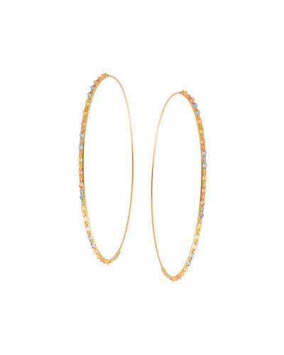Glam Large Three-Tone Hoop Earrings