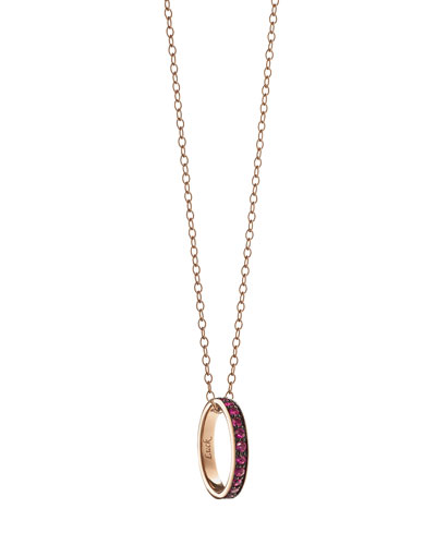 18K Ruby Posey Ring Pendant Necklace