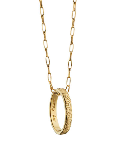 18K Engraved Posey Ring Pendant Necklace