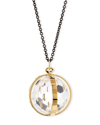 18K Gold & Black Steel Crystal Pendant Necklace