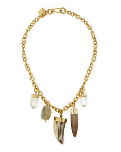 Agua Mixed Charm Horn Necklace