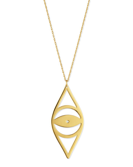 "Alba Evil Eye Pendant Necklace with Diamond, 30""L"