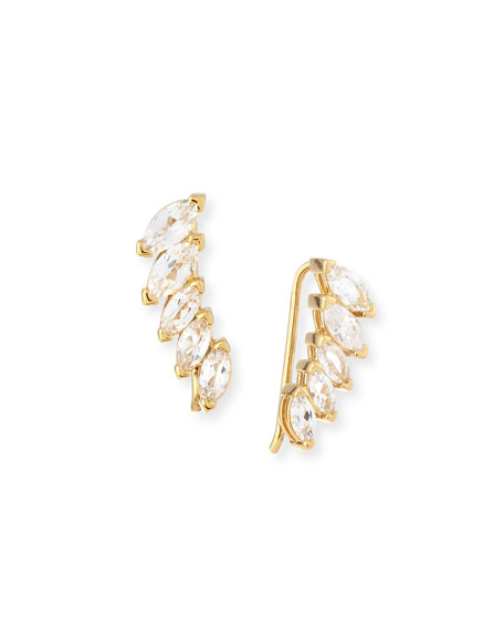 Jennifer Zeuner Hollis Marquise White Sapphire Cuff Earrings
