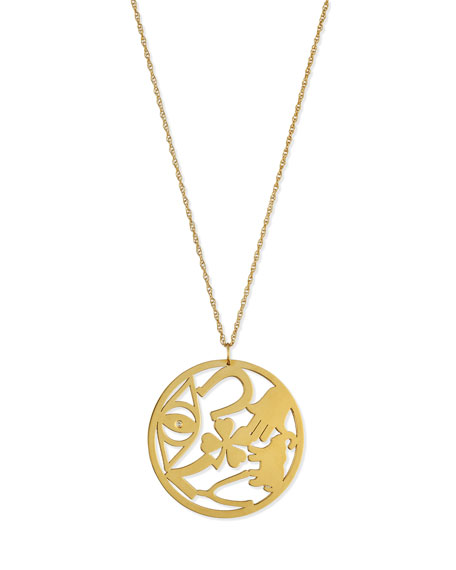 "Eden Medallion Pendant Necklace with Diamond, 25""L"